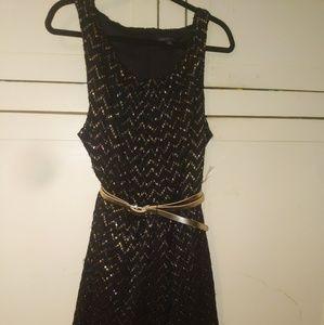 Women's Plus Dress, Black&Gold,24W,